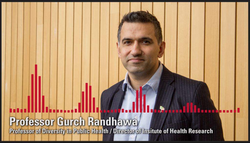 Professor Gurch Randhawa (Professor of Diversity in Public Health/Director of Institute of Heath Research), pictured looking warm but serious with sound waves overlaid the picture to indicate he will be on the radio